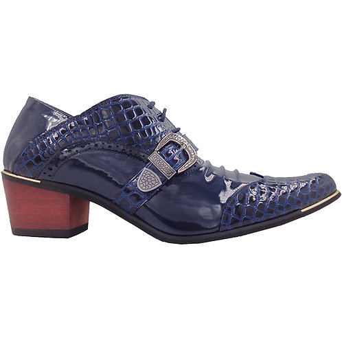 Exotic Blue Patent Men's Cuban Heel With Buckle