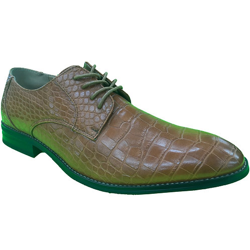 Shoe Artists Brown Embossed Crocodile Republic Collection Men's Footwear