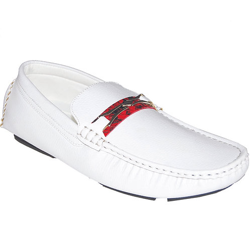 Men's White Casual Slip-On with Red Snake Skin Detail