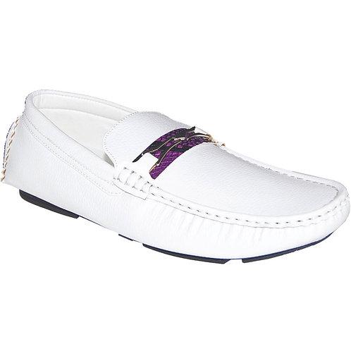 Men's White Casual Slip-On with Purple Snake Skin Detail