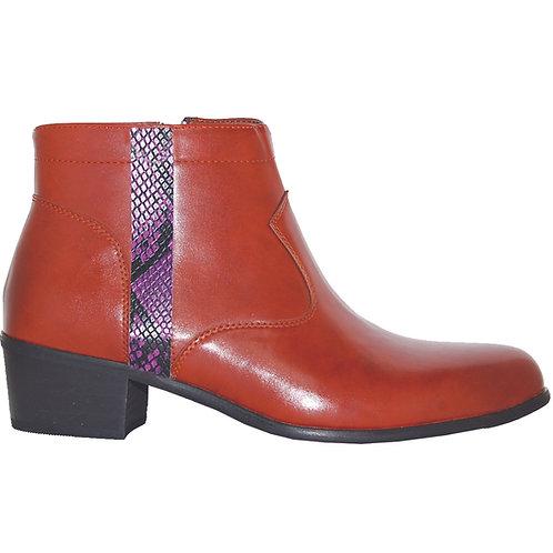 Brown Stylish Cuban Heel with Purple Snake Skin Detail