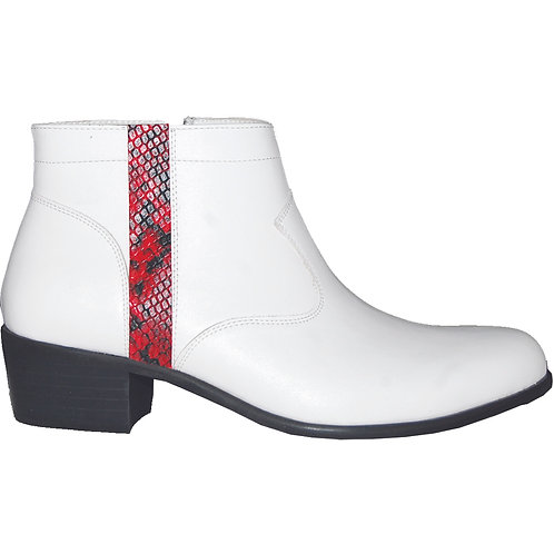 Stylish Cuban Heel with Red Snake Skin Detail
