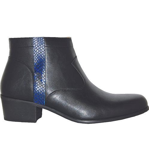 Black Men's stylish Cuban Heel with Blue Snake Skin Detail