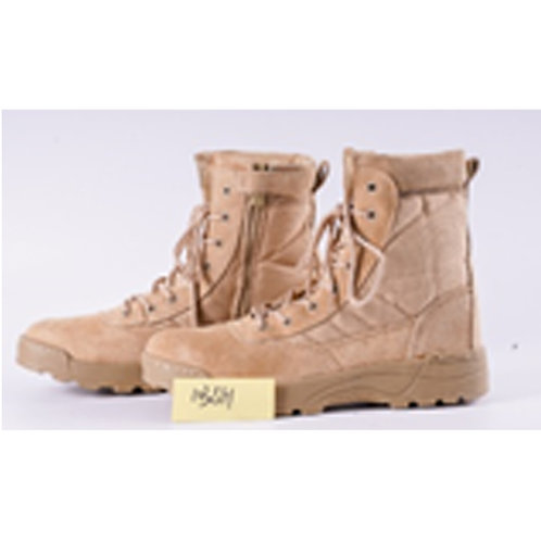 Men's 8 inch Beige Suede Leather & Nylon Chunky Sole Lace Up Combat Boot