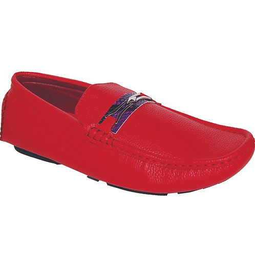 Men's Red Casual Slip-On with Purple Snake Skin Detail