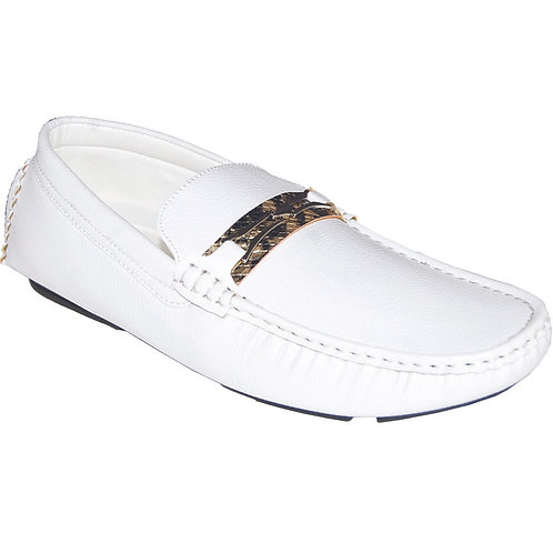 Men's White Casual Slip-On with Gold Snake Skin Detail