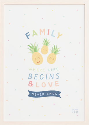 Pineapple family, nursery wall art, le petit blu