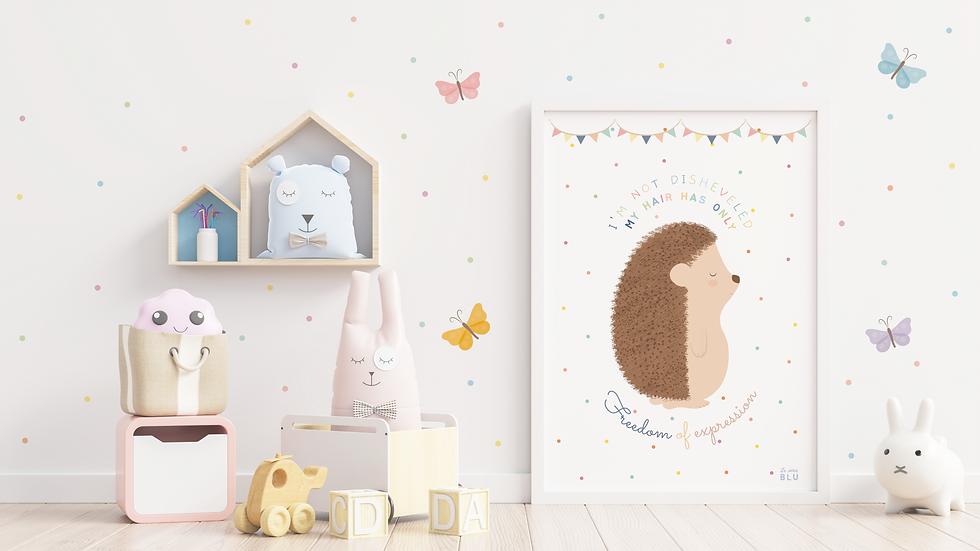 Hedgehog, Nursery wall art, Le Petit Blu