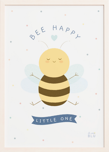 Bee happy nursery wall art