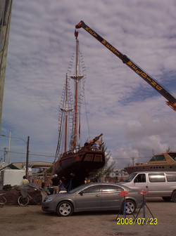 Mast being put back in place