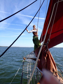 Pirate Queen on the bow sprit