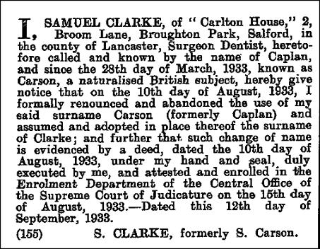 London Gazette 19 September 1933 | Rose