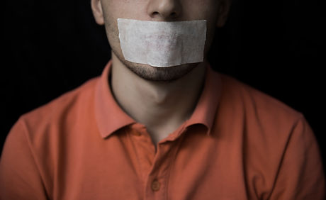 Man is silenced with adhesive tape on hi