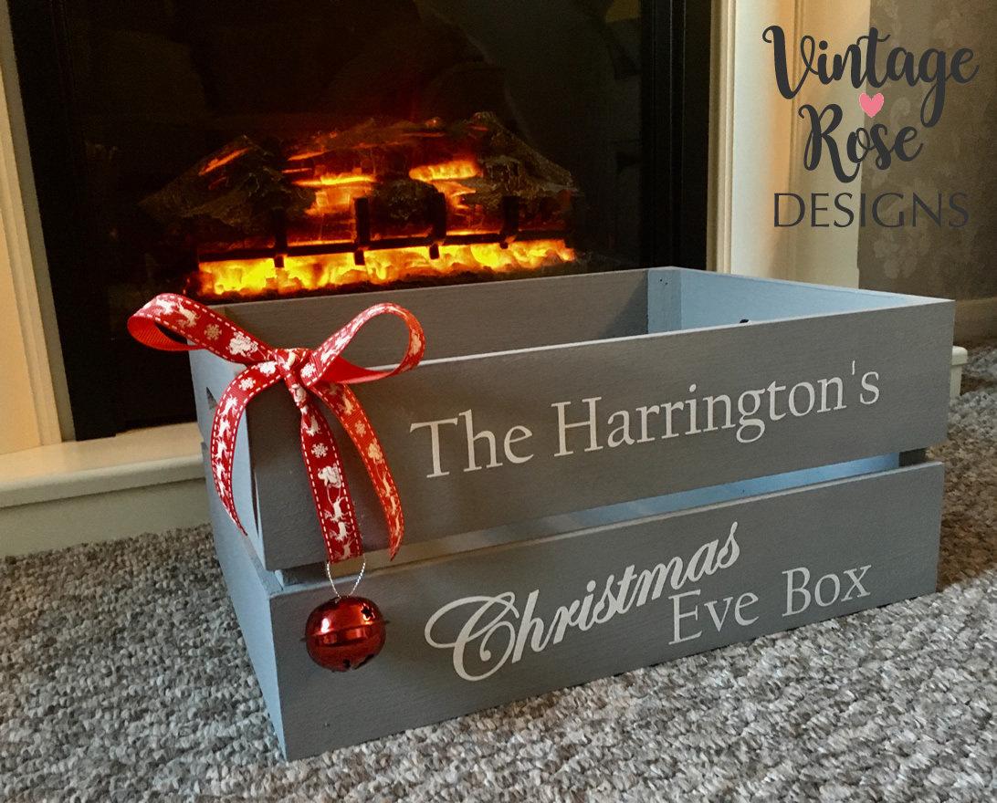 Christmas Crate Box.Christmas Eve Box Large Christmas Crate