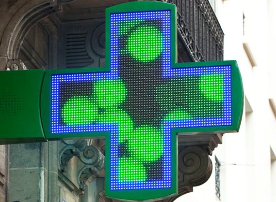 Croix de pharmacie bi color