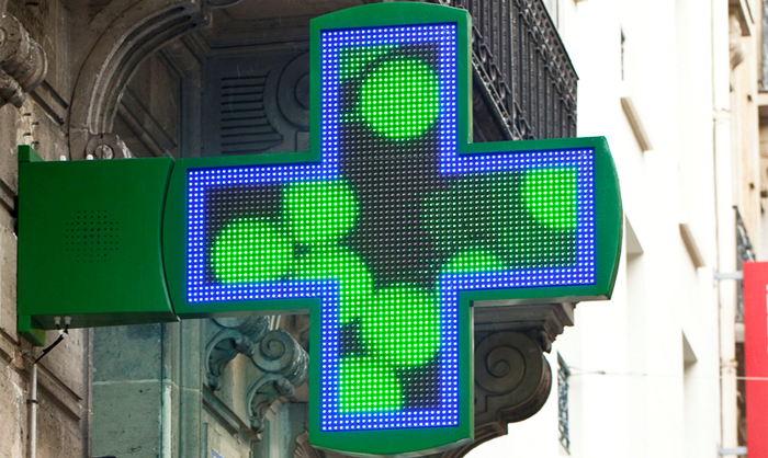 Croix de pharmacie bi color