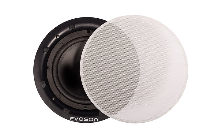 Front view of bezel-less white Evoson ceiling speaker showing removable grille