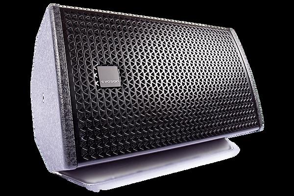 Horizontally mounted black Evoson cabinet loudspeaker with rotatable badge