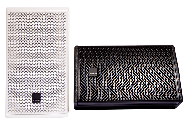 Vertical white Evoson cabinet speaker and horizontal black loudspeaker with badge rotated