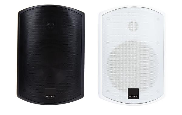 One black and one white IP66 rated weatherproof loudspeaker