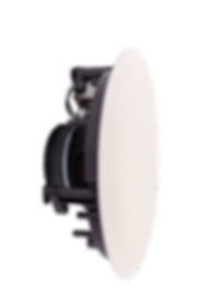 Side view of white Evoson ceiling speaker with grille