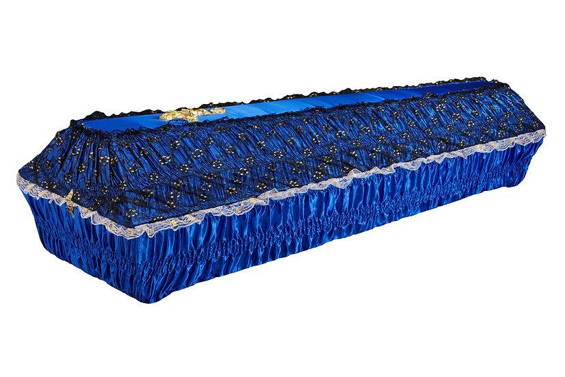 Тканевый гроб атлас с гипюром