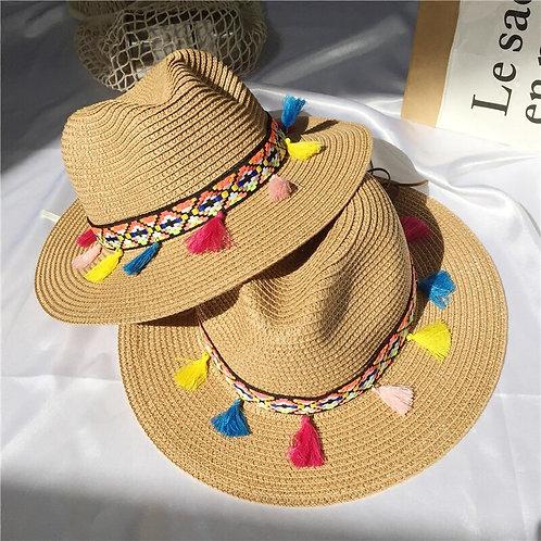 =Straw Wide Brim Color Tassel Hat