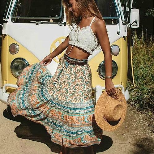 Vintage Print Maxi Skirt
