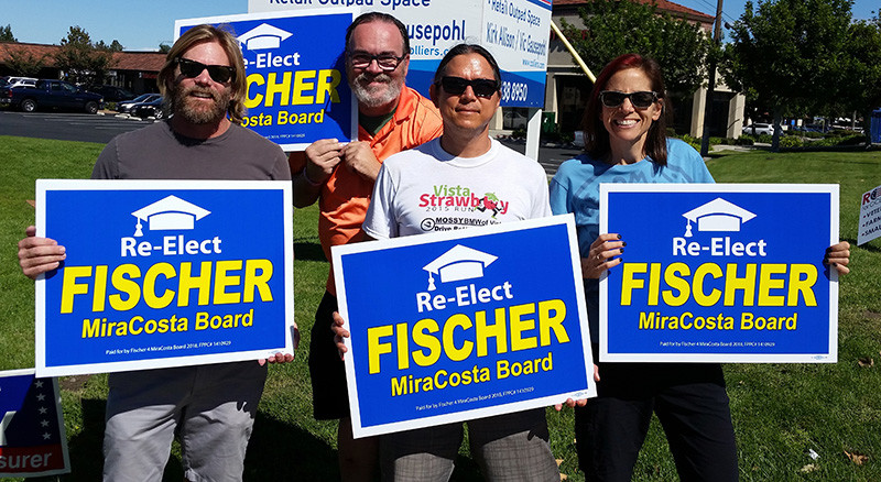 Faculty waving signs before election