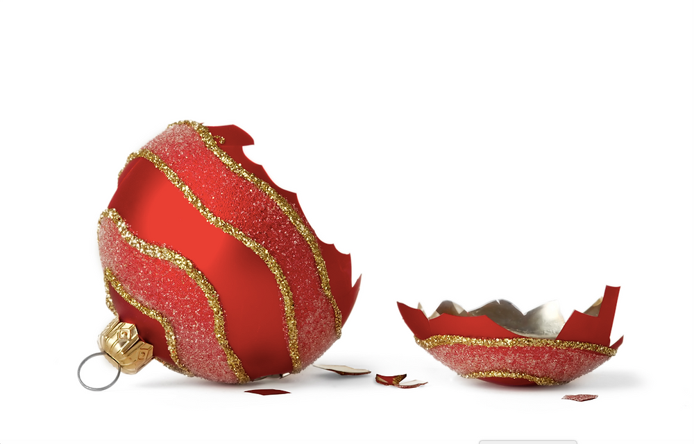 Broken red ornament