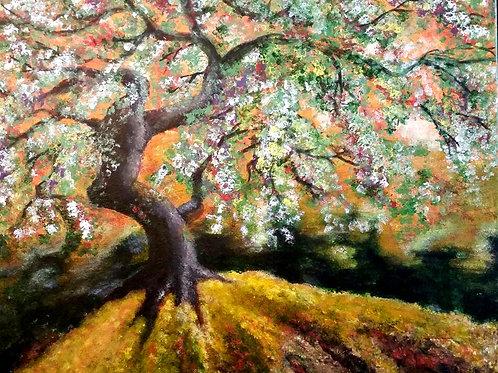 Acrylic forest scene