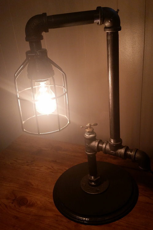 Black iron, Edison bulb steampunk rocker switch light