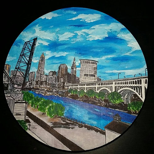 """17"""" tabletop Cleveland acrylic painting"""