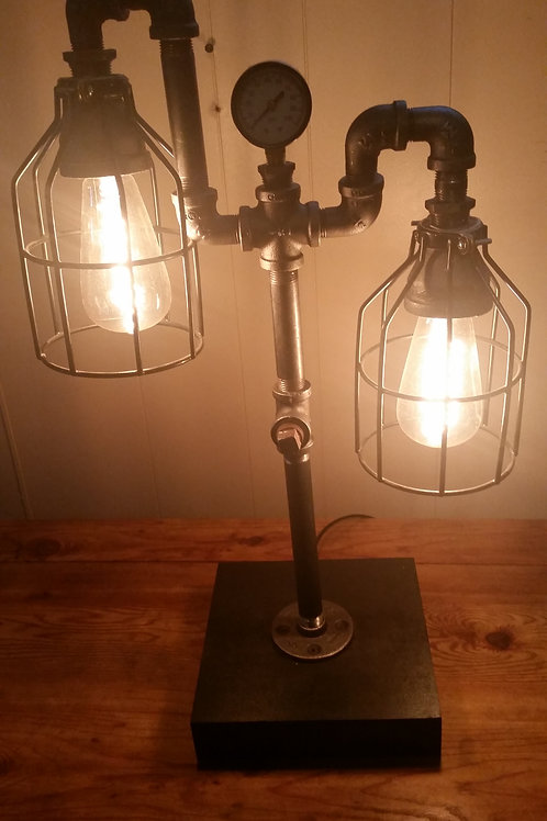 Black iron, Edison bulb steampunk lamp