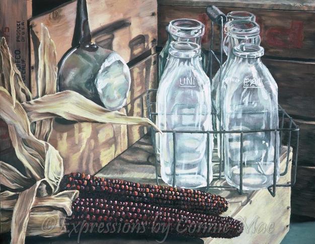 Indian Corn, Milk Bottles, & Crates