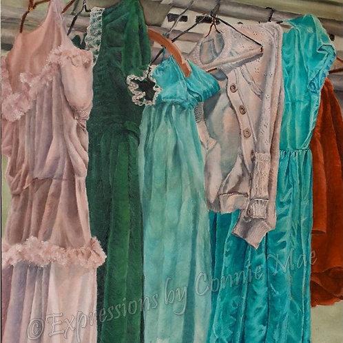"Backstage Wardrobe; oil on canvas, 28"" x 32"", vintage (1981)"