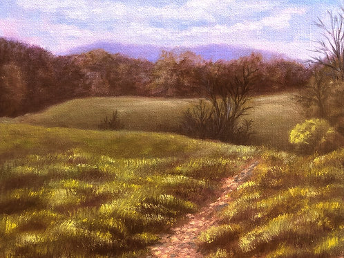 """Spring Afternoon in the Catskills; oil on canvas board, 12"""" x 10"""""""