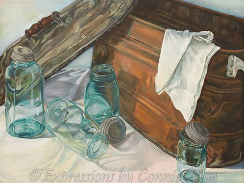 """Canning Days; Oil on Canvas, 32"""" x 26"""" Vintage (1986)"""