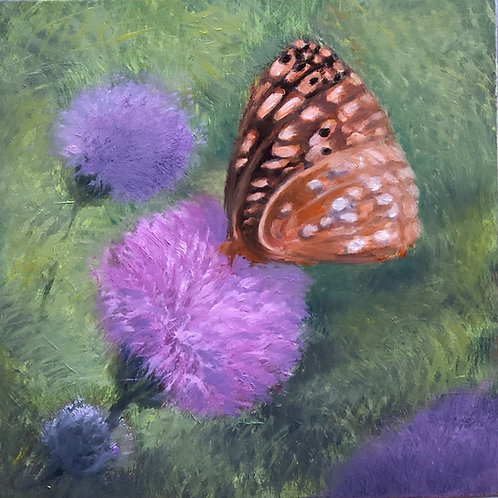 "Thistle Delight; oil on board, 5"" x 5"""