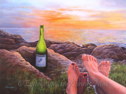 "Barefoot Sunset; oil on board, 18"" x 14"""