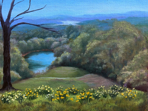 """View from Olana; oil on canvas board, 12"""" x 10"""""""