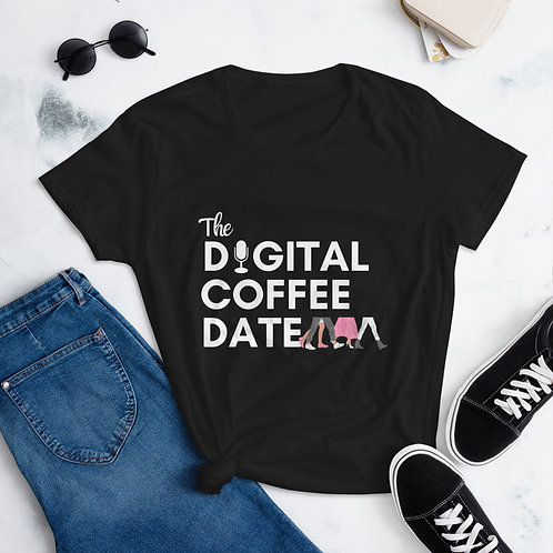 The Digital Coffee Date Short Sleeve Tee Black, Red, Berry Pink, Caribbean Blue