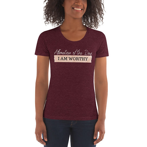 Women's Affirmation Worthy T-shirt Tri-Black & Tri-Cranberry