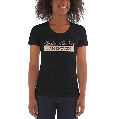 Women's Affirmation Enough T-shirt Tri-Black & Tri-Cranberry