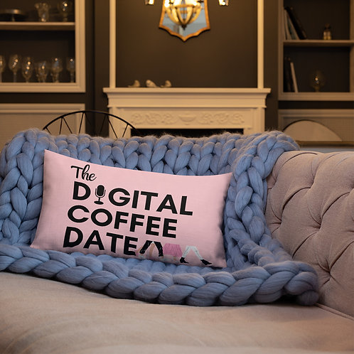 The Digital Coffee Date Pink Premium Pillow