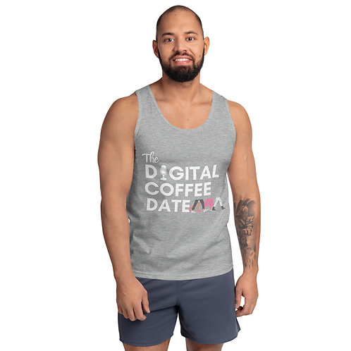 The Digital Coffee Date Men's Tank Top Black & Grey