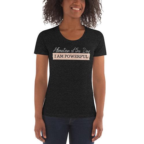 Women's Affirmation Powerful T-shirt Tri-Black & Tri-Cranberry