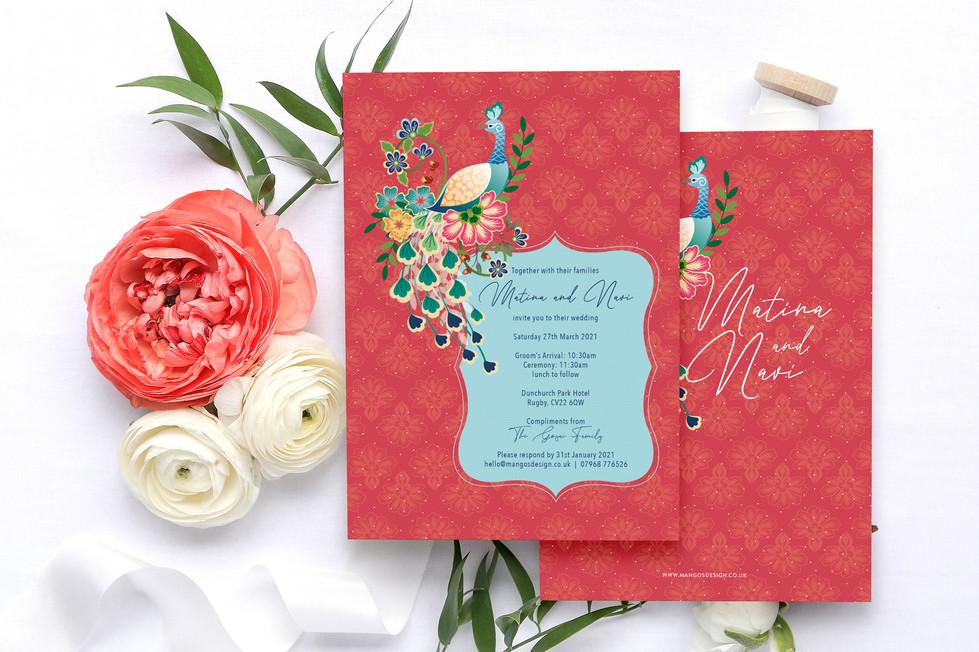 Peacock Indian Wedding Invites