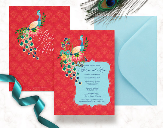 Peacock Weddig Invites
