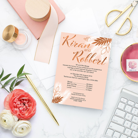 Blush Indian Wedding Invitations
